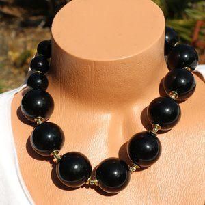 Huge Boho Black Pearl Goldtone Statement Necklace